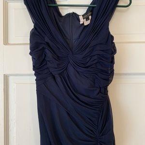 Navy blue Tadashi Shoji pleated formal gown
